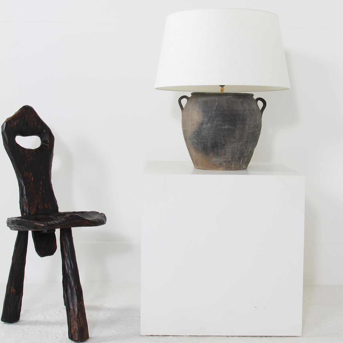 AUTHENTIC CHINESE POTTERY LAMP WITH WHITE LINEN DRUM SHADE