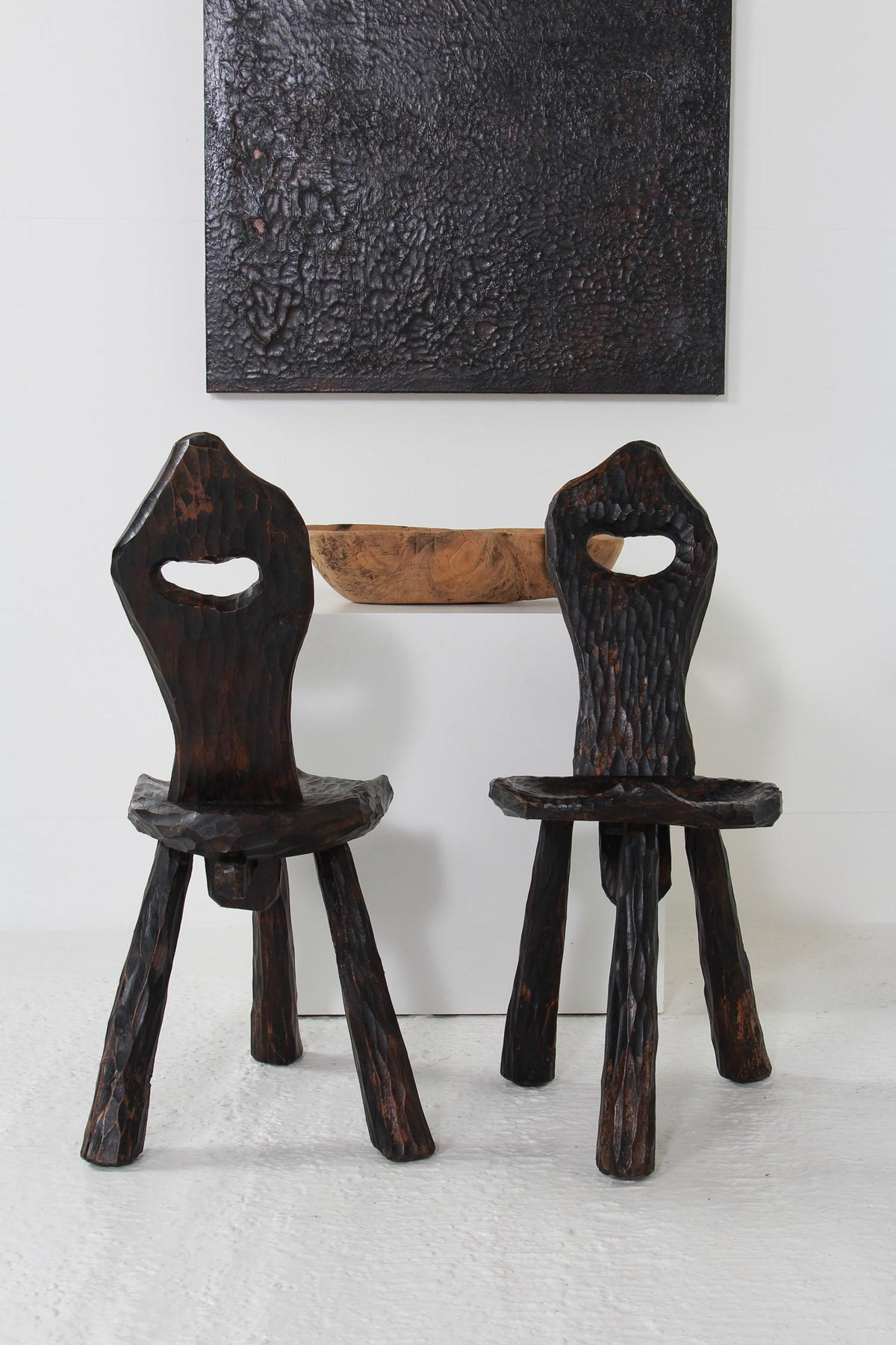 Near Pair of French Midcentury Three-Legged Rustic Chairs