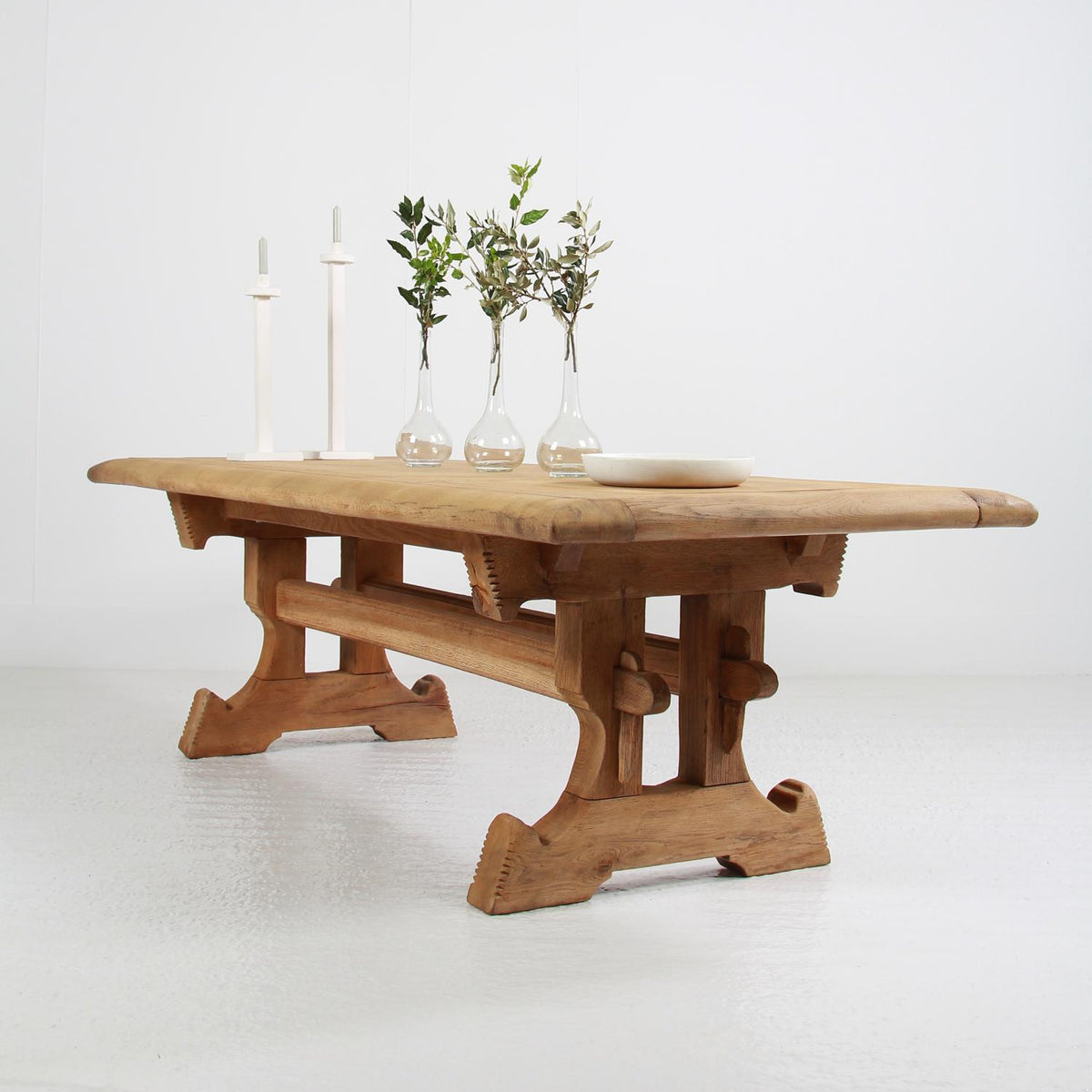 Impressive French 20thC Bleached Oak Monastery Trestle Table