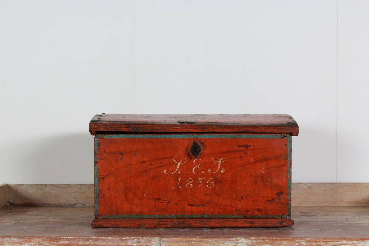 Charming  19thC Painted Folk Art Scandinavian Box Dated 1856