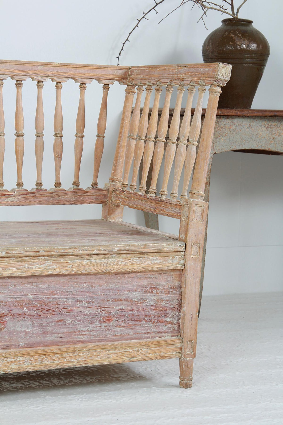 Beautiful  Grand Scale Swedish 19thC Gustavian Bench