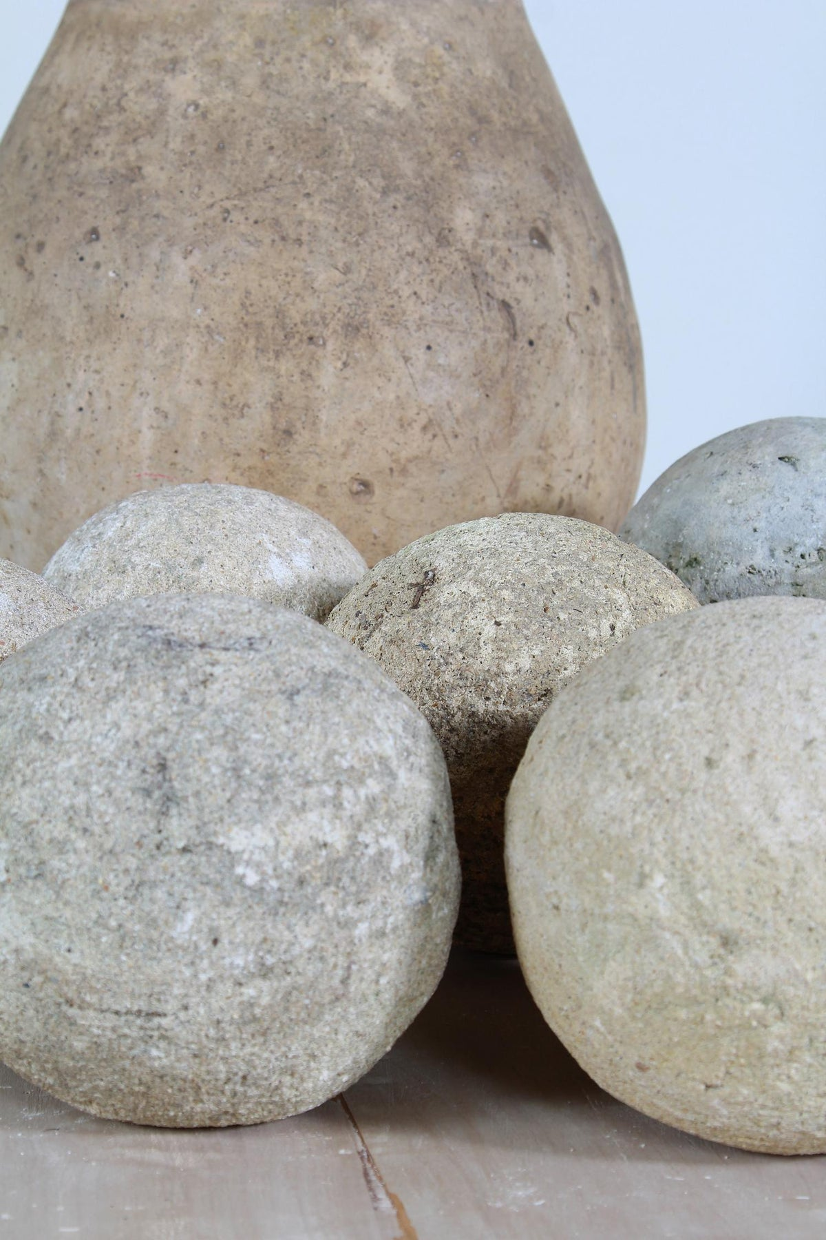 An assortment of 7 French 19thC Carved Stone Balls