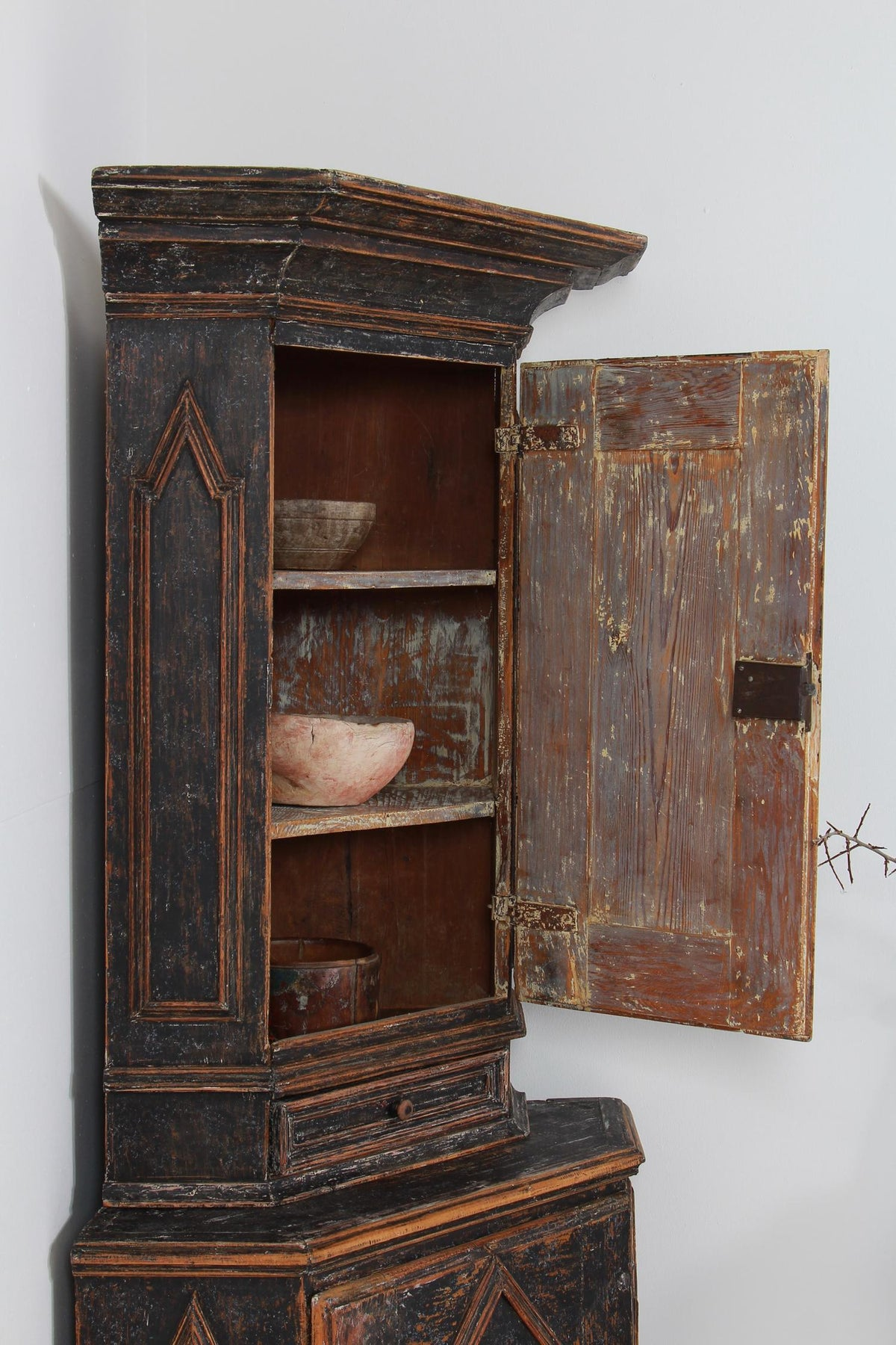 Striking Black Painted Swedish Baroque 18thC Corner Cabinet