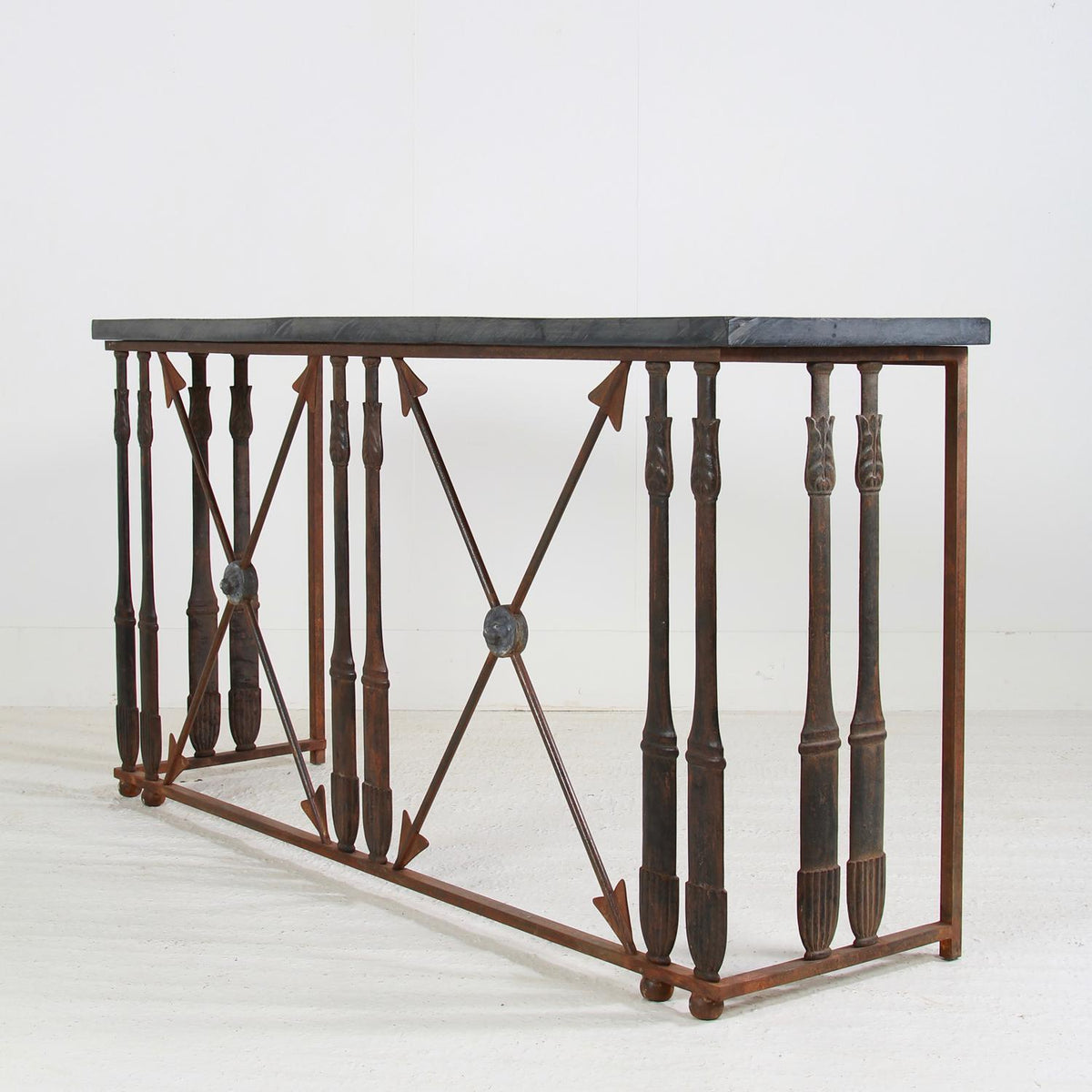 HUGE FRENCH 19TH CENTURY IRON & STONE CONSOLE TABLE