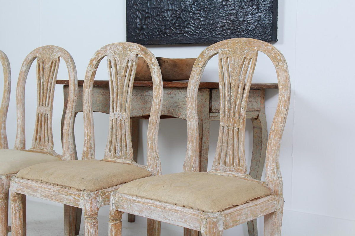 Set of Four 19th Century Swedish Wheat Sheaf Dining Chairs