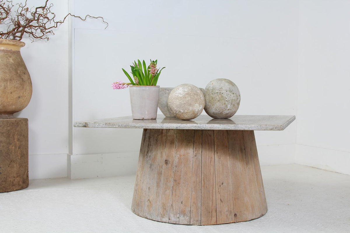 Quirky Marble and Wood Pedestal Coffee Table