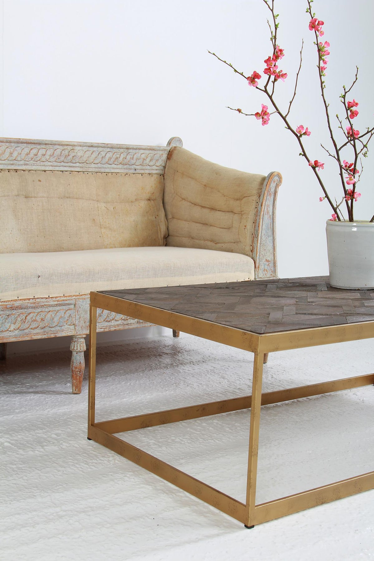 Swedish Brass Rectangle Base Parquet Top Coffee Table