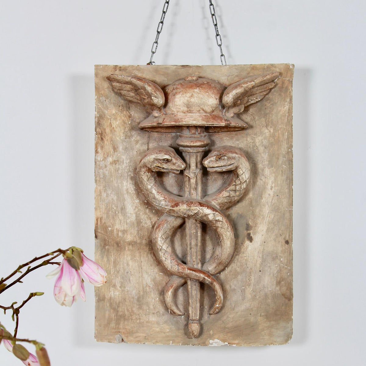 Decorative French Caduceus Plaster Plaque Hermes and Snakes