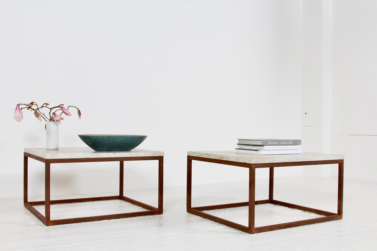Stylish Artisan Metal and Marble Coffee Tables