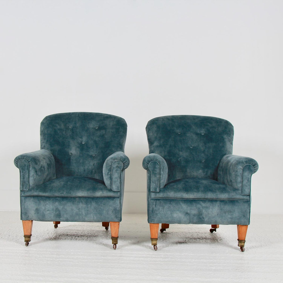 PAIR OF ENGLISH 19thC  BUTTON BACK VELVET ARMCHAIRS