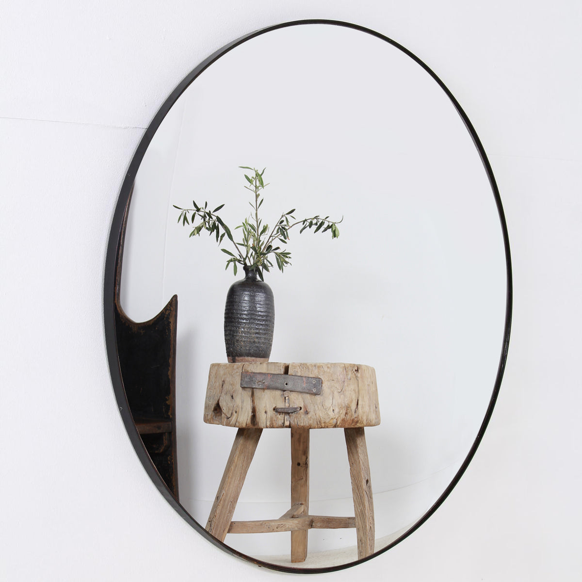 Stunning Modern Contemporary  Convex Mirror with Black Steel Frame