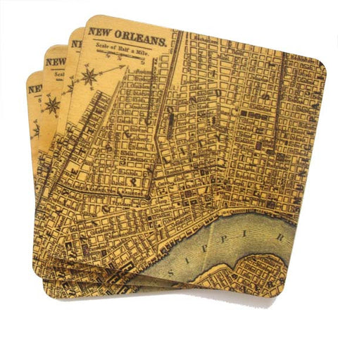 Set of 4 Wooden Coasters - Map of New Orleans - Blue River