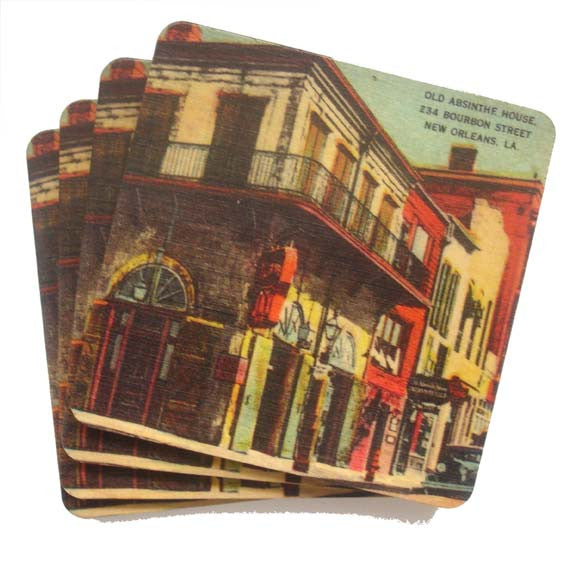 Set of 4 Wooden Coasters - Old Absinthe House