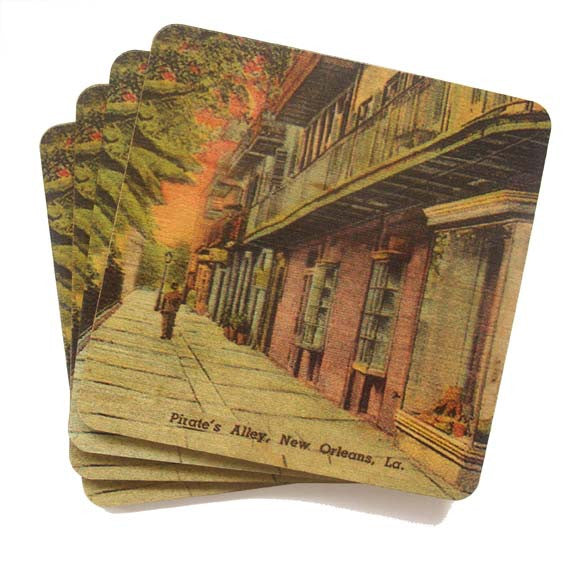 Set of 4 Wooden Coasters - Pirates Alley