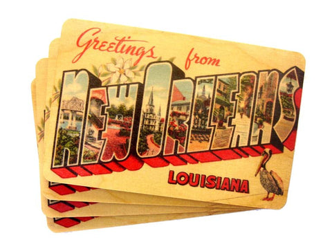 Set of 4 Wooden Postcards - Greetings from New Orleans