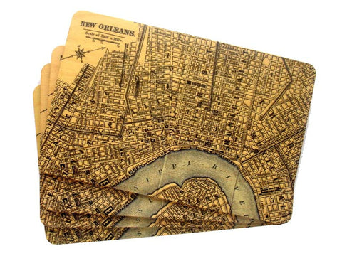 Set of 4 Wooden Postcards - Map of New Orleans - Blue River