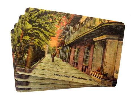 Set of 4 Wooden Postcards - Pirates Alley