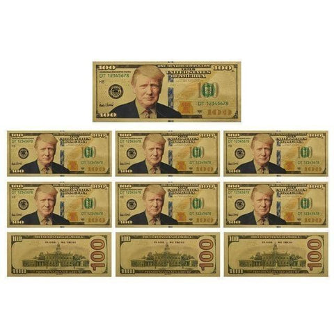 10 pcs Trump Gold Plated $100 Bill-Trump Rack