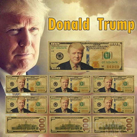 Image of 10 pcs Trump Gold Plated $100 Bill-Trump Rack