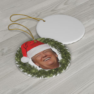 Trump Smiling Ceramic Christmas Tree Ornament