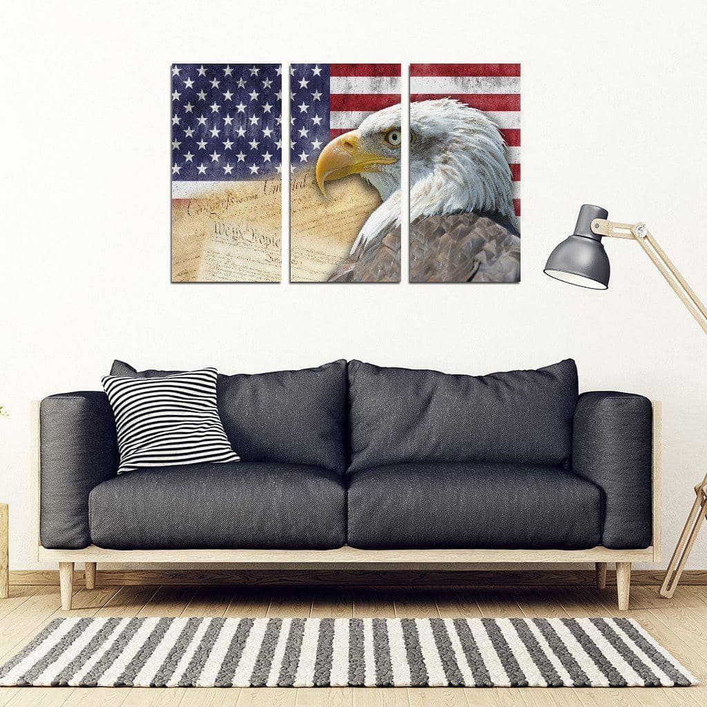 American Flag Bald Eagle Patriotic 3 Piece Framed Canvas-Trump Rack