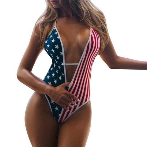 Image of American Flag One Piece Swimsuit-Trump Rack