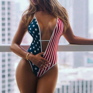 American Flag One Piece Swimsuit-Trump Rack