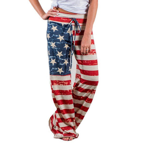 American Flag Womens Pajama Pants-Trump Rack