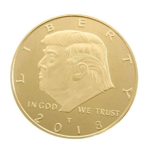 "Image of President Trump ""POTUS"" Gold Coin-Trump Rack"