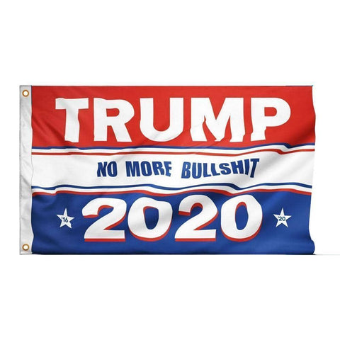 Image of Trump 2020 No More BS Flag-Trump Rack