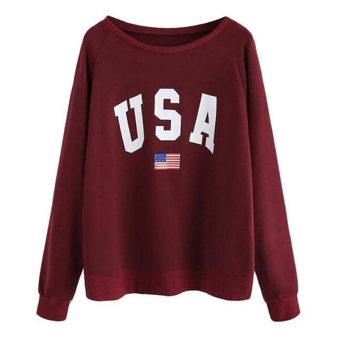 USA Casual Long Sleeve Sweatshirt-Trump Rack