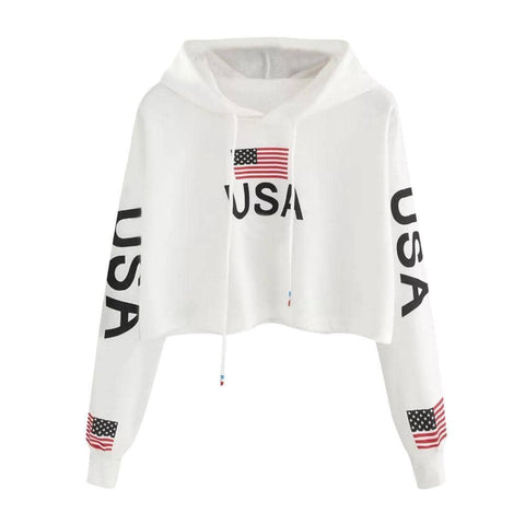 USA Crop Top Hoodie-Trump Rack
