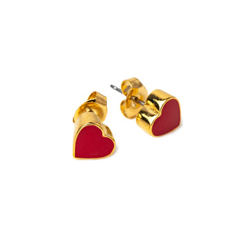 The Ava Red Heart Studs