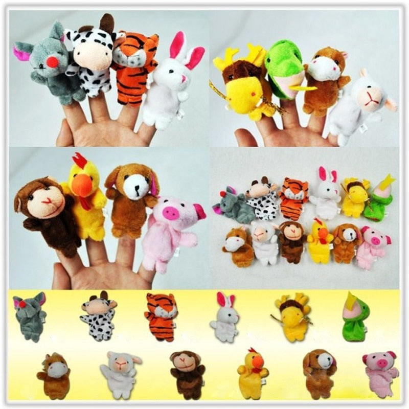 12 Pcs Children Gift Tell Story Props Children Furniture Sets Christmas Baby Finger Puppets Zodiac Animals Kids Toys Plush Toy