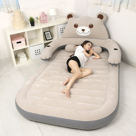 150CM*230CM*23CM Folding Cartoon Bed Inflatable Soft Bed With Backrest Totoro Bed Beanbag Cama Mattresses Bedroom Furniture