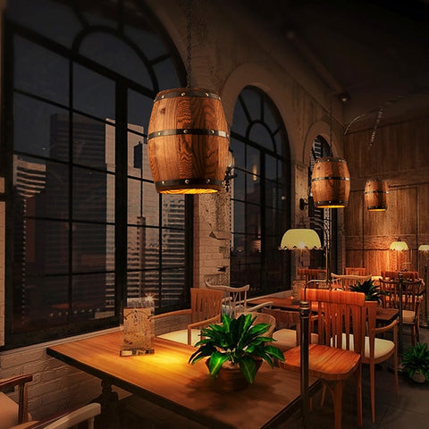 1Pcs Wood Wine Barrel Hanging Fixture Pendant Lighting Suitable For Bar Cafe Lights Ceiling Restaurant Barrel Lamp