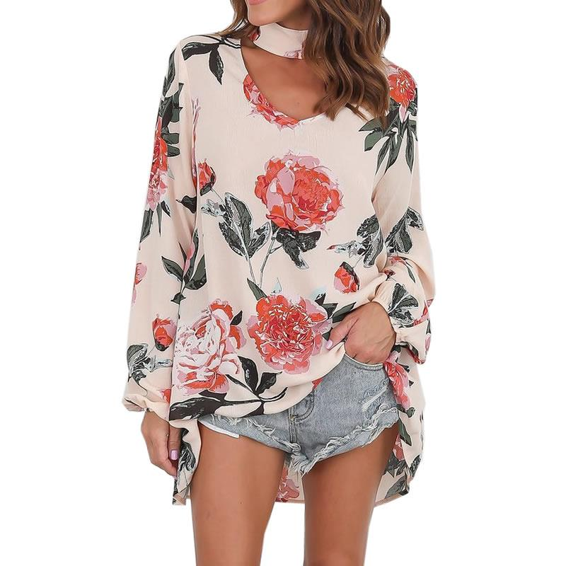 Women's V-neck Flowers Loose Hanging Neck T-shirt