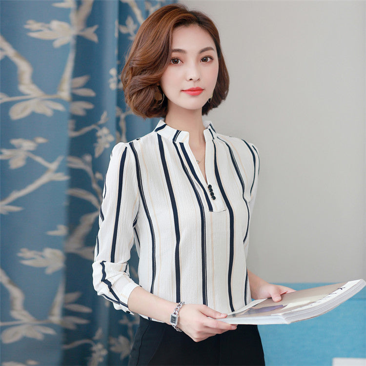 Ladies Long Sleeve Office Chiffon Blouse