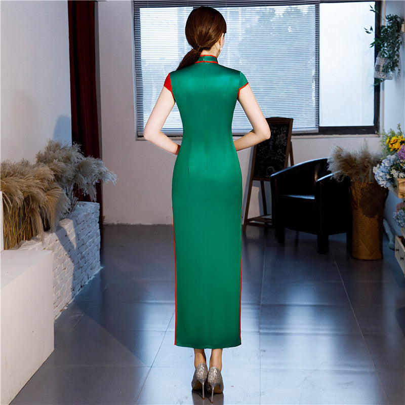 Long Cheongsam Chinese style Mandarin Collar Dress