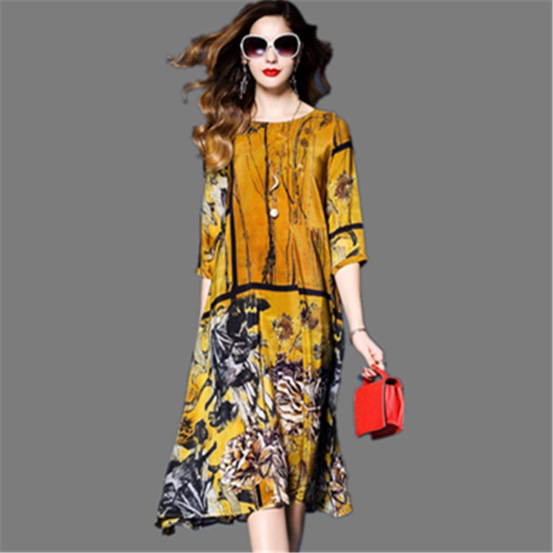 Three Quarter Sleeve Vestidos Vintage Print Faux Silk Dresses