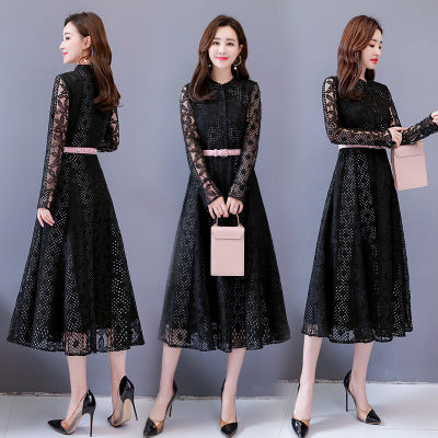 2019 Summer New Temperament Lady Lace Large Size Dress Fashion Elegant Self-cultivation Waist Large Swing Women Clothing