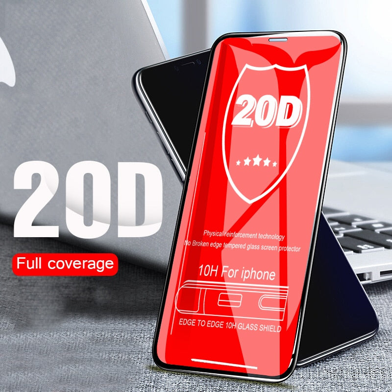 20D Curved Full Protective Glass On The For iphone 7 8 6 6s PLus Tempered Screen Glass For iphone X XR XS Max Protector Film