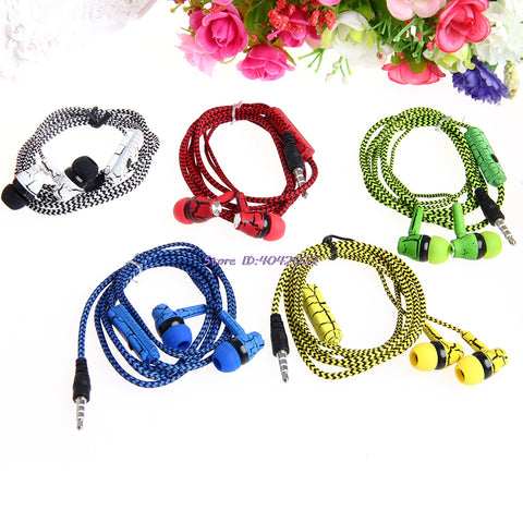 Microphone In-Ear Crack Braided Headset For iPhone & Samsung phones