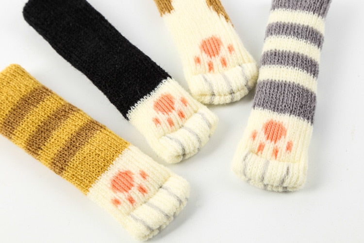4pcs Chair Leg Socks Cloth Floor Protection Knitting Wool Socks Anti-slip Table Legs Furniture Feet Sleeve Cover Cat Scratching