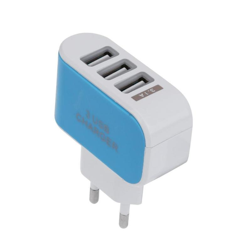5V 2A EU Standard Plug Charger Adapter 100-240V 3 USB Hub Port Power Supply Charging Plug Socket For Travel Charge Phones
