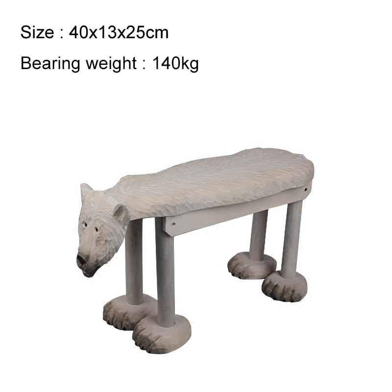 60x20x40cm Hand-carved Solid Wood Stool Leopard Tiger Animal Baby Adult Footstool Small Bench Home Garden Decor Ottomans Chair