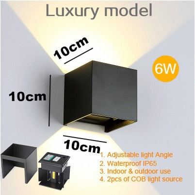 Adjustable 6W LED Wall Lamp IP65 Waterproof Indoor & Outdoor Aluminum Wall Light Surface Mounted Cube LED Garden Porch Light