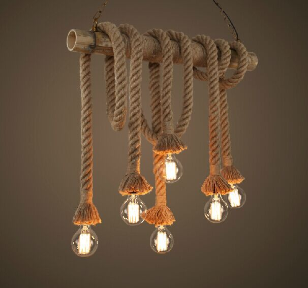 American Rustic Style Handmade Pendant Lamp With E27 Lamp Holders,Hanging Rope Pestaurant Room Lamp Vintage Rope Lamps