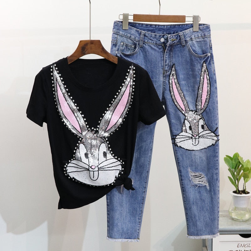 Amolapha Women Casual Sequins T Shirts Pants Suits Cartoon Printed Woman Loose Tshirt Calf-Length Denim Trousers Sets