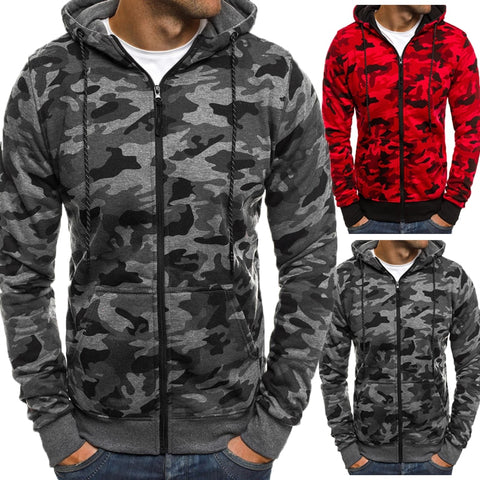 Men Hoodies Camouflage Outerwear Long Sleeve Hooded Zipper Cardigan Tracksuit